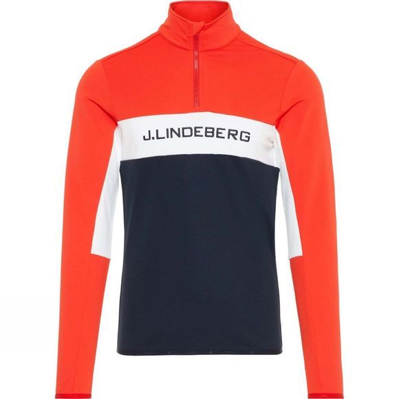 J.Lindeberg Mens Kimball 1/4 Zip Midlayer Sweater Racing Red/White/Navy