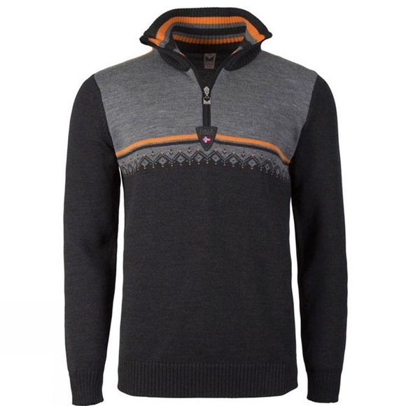 Dale of Norway Mens Lahti Sweater Dark Charcoal/ Orange Peel/ Smoke