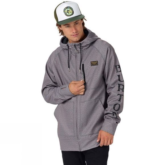 Burton Mens Crown Bonded Full-Zip Hoodie Monument Heather