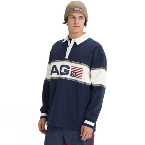 Analog Mens AG Squam Rugby Sweatshirt Mood Indigo
