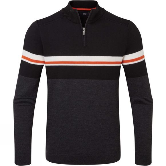 Henjl Mens Sledge T Neck Sweater Dark Grey Melange/ Orange