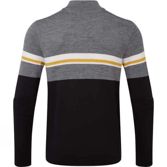 Henjl Mens Sledge T Neck Sweater Melange Grey/ Yellow