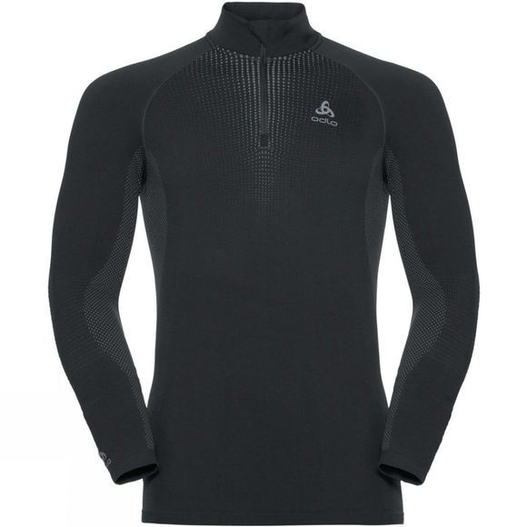 Odlo Mens Performance Warm LS Half Zip Black/ Odlo Concrete Grey