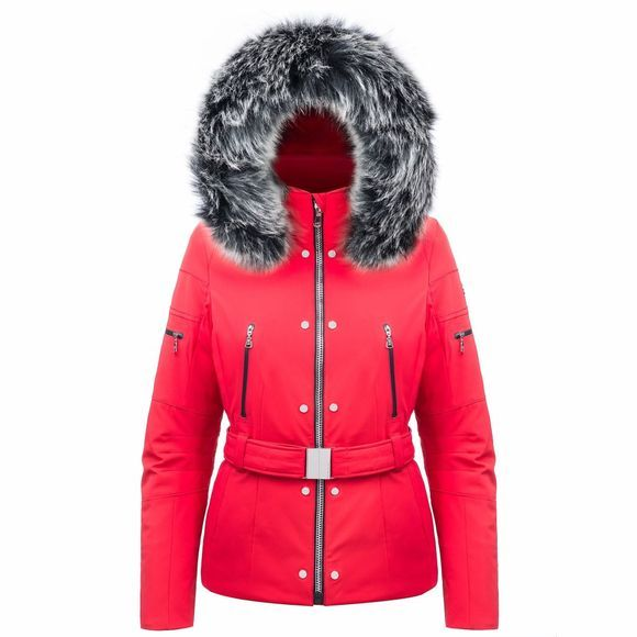 Poivre Blanc Womens Emily Faux Fur Jacket Scarlet Red