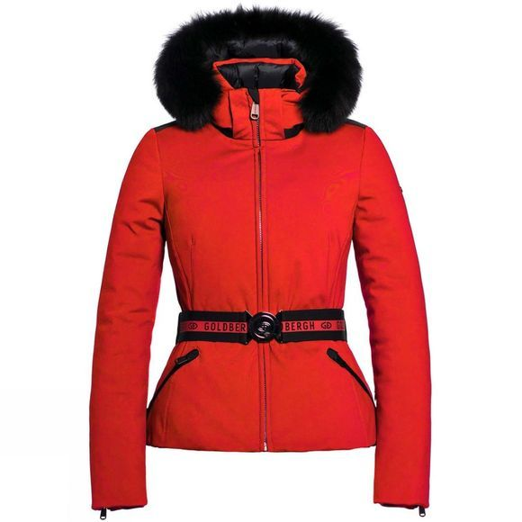 Goldbergh Womens Hida Faux Fur Black Belt Jacket Poppy Red