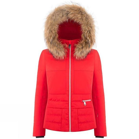 Poivre Blanc Womens Katrina Faux Fur Jacket Scarlet Red