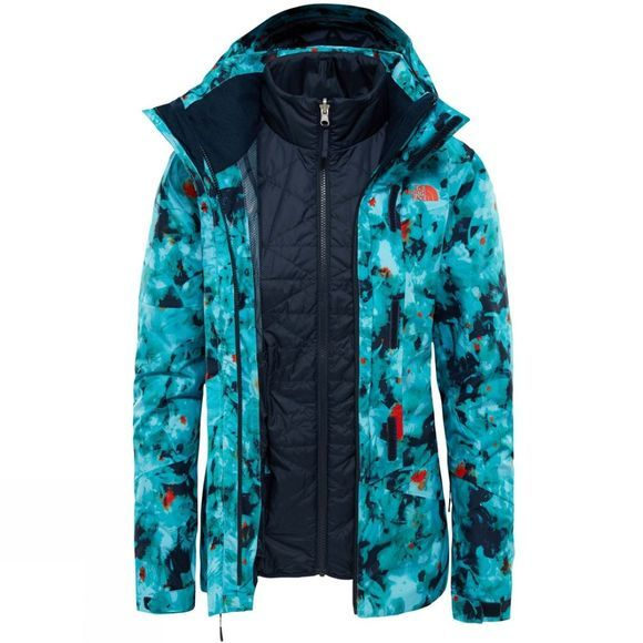 The North Face Womens Garner Triclimate Jacket Transantartic Blue Snowfloral Print