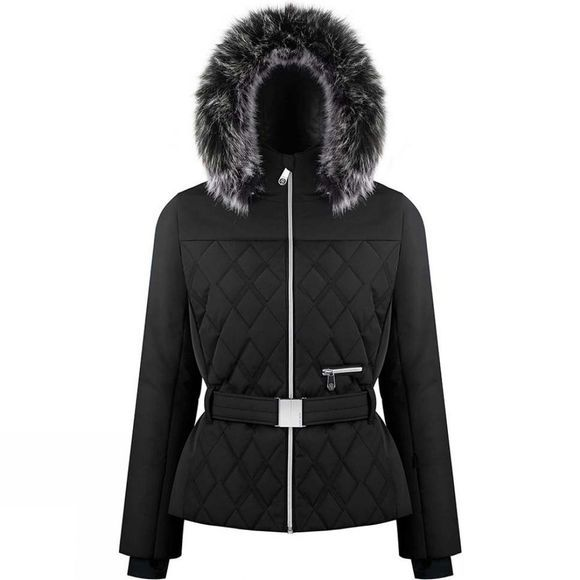 Poivre Blanc Womens Riva Faux Fur Jacket Black