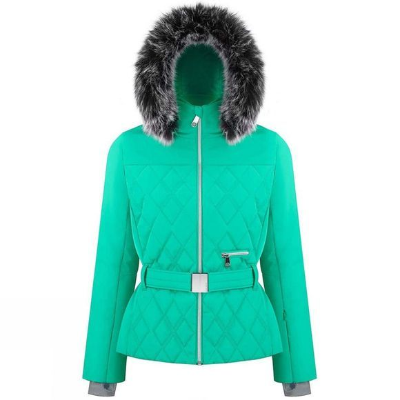 Poivre Blanc Womens Riva Faux Fur Jacket Emerald Green