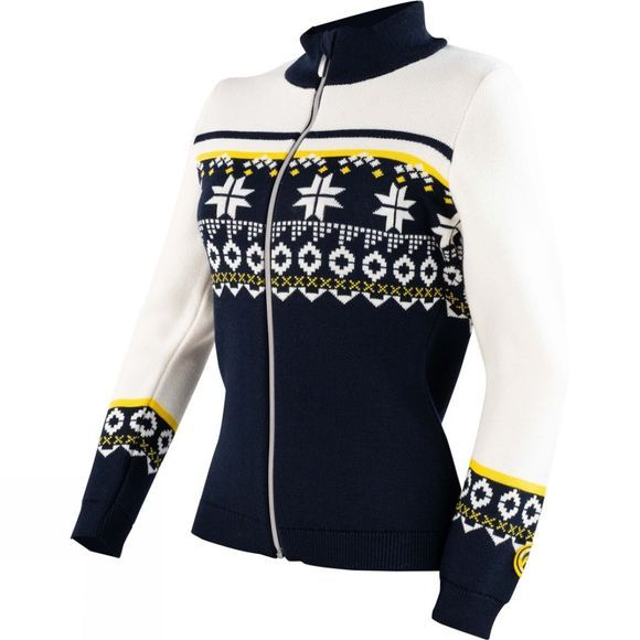 Henri Duvillard Womens Saleina 2 Full Zip Fleece Yellow/White/Navy