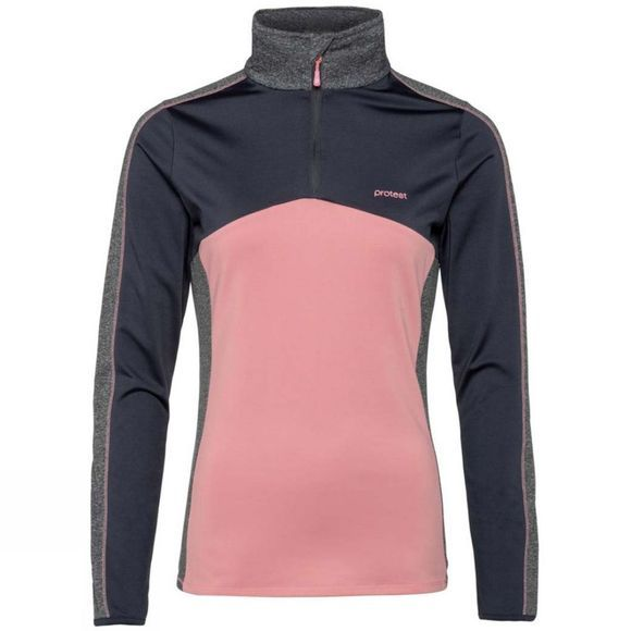 Protest Womens Odense 1/4 Zip Top Think Pink