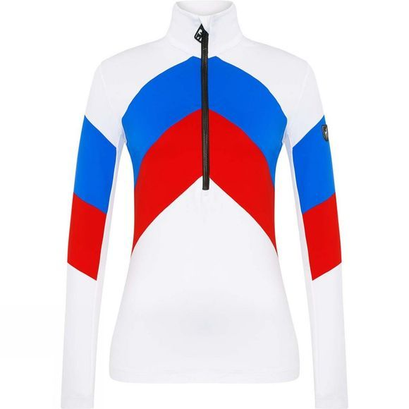 Toni Sailer Sports Womens Rosalie 1/4 Zip Fleece White/Red/Blue