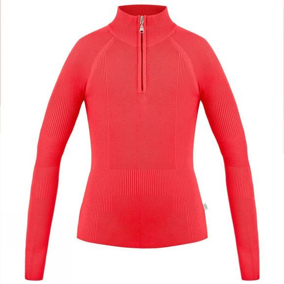 Poivre Blanc Womens Inga Knit Sweater Scarlet Red