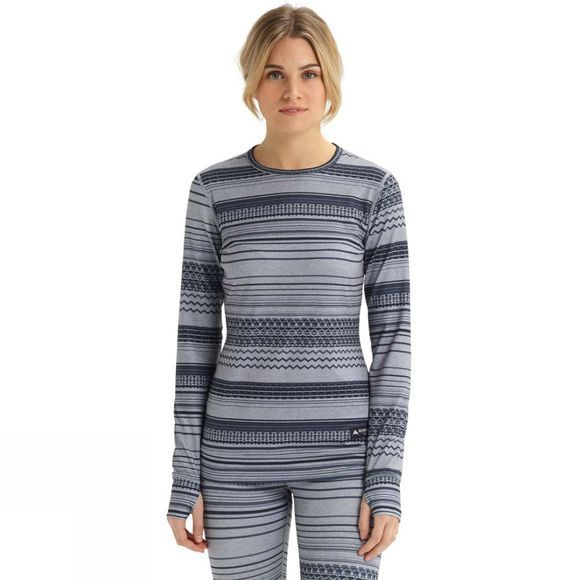 Burton Women's Midweight Crew Baselayer Gray Revel Stripe