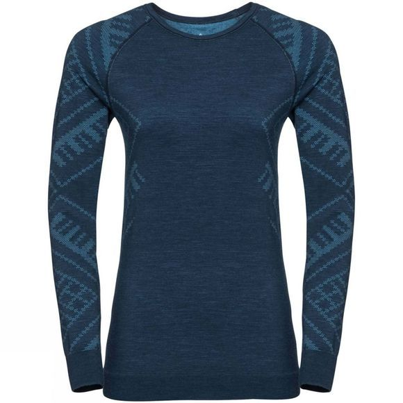 Odlo Womens Natural + Kinship LS Crew Blue Wing Teal Melange