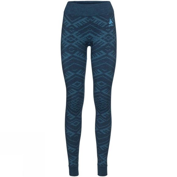 Odlo Womens Natural + Kinship Long Pant Blue Wing Teal Melange