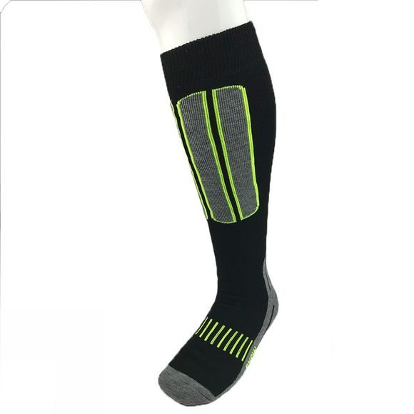 Snow and Rock Mens Comfort Zone - 2 Pack Ski Socks Black/Grey/Neon Yellow and Grey/Black/Red