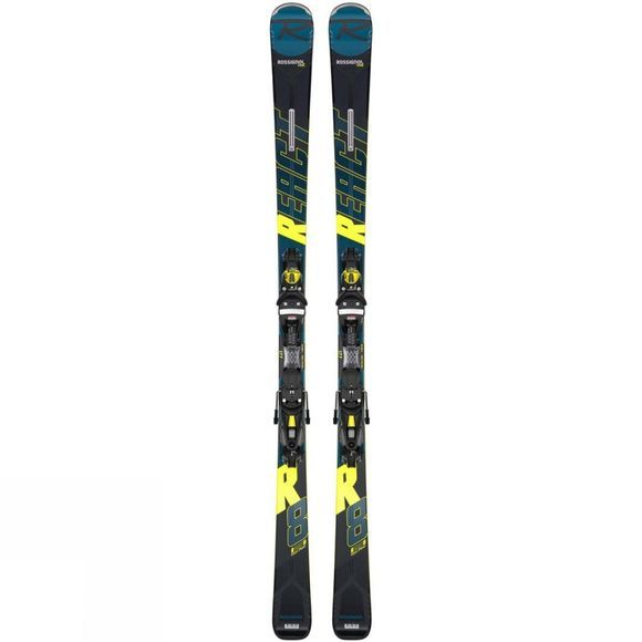 Rossignol Men's React R8 HP Skis With NX 12 Konect GW Binding Petrol Yellow
