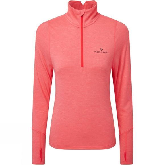 Ronhill Womens Stride Thermal Half Zip Tee Hot Pink Marl/Charcoal