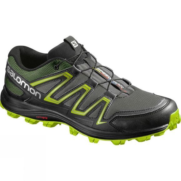 Salomon Mens Speedtrak Shoe Dark Cloud/Black/Granny Green