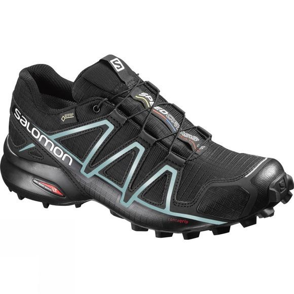 Salomon Womens Speedcross 4 GTX Shoe Black/Black/Metallic Bubble Blue