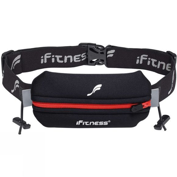 Fitletic Single Neoprene Race Belt With Race Number Holder Black/Red