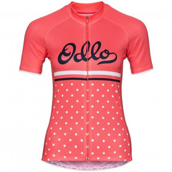 Odlo Womens Fujin Print Stand-Up Collar Jersey Dubarry/Retro