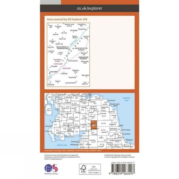 Ordnance Survey Explorer Map 324 Liddesdale and Kershope Forest V15 new edition