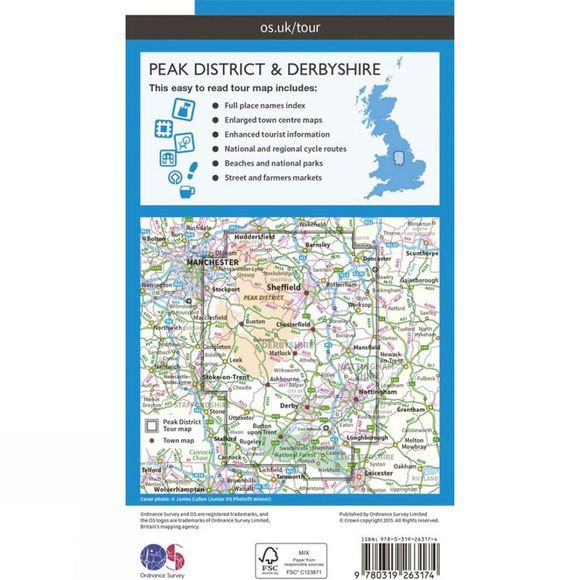 Ordnance Survey Peak District & Derbyshire Tour Map V16