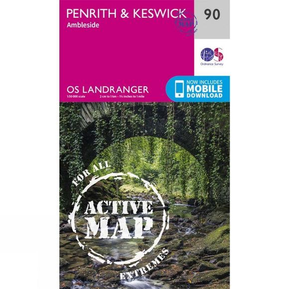 Active Landranger Map 90 Penrith and Keswick