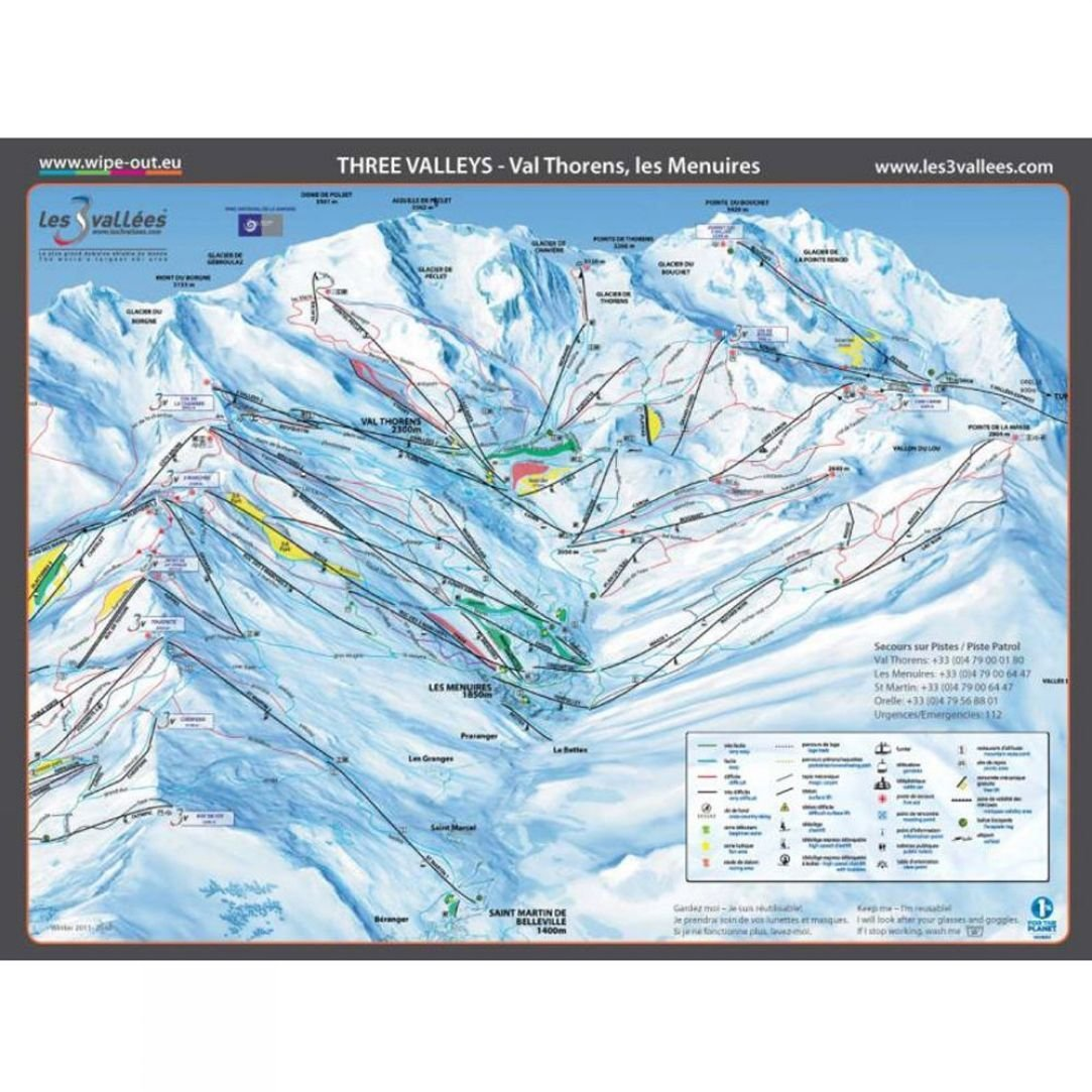 Wipeout Wipeout Three Valleys Piste Map Lens Cloth SnowRock
